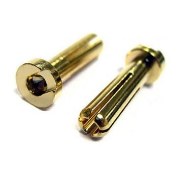 Battery Plug, Guld, 4mm (10)