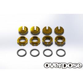 Overdose Aluminum adjust nut and Spring retainer set for Overdose/Yokomo BD dampers - Gold