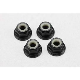 Yokomo M4 Aluminium nylon flange lock nut - Black 4pcs