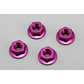 Yokomo M4 Aluminium serrated lock nut - Purple 4pcs